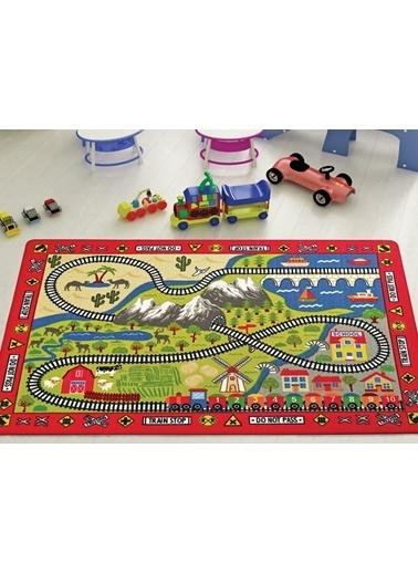 Confetti Railway Çocuk Odası Anaokulu Tren Yolu Oyun Halısı Renkli